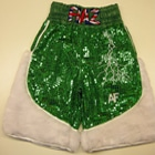 custom made fur and sparkle boxing shorts union jack green and white sparkle suzi wong creations lancashire made british