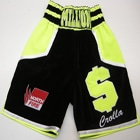 Anthony million dollar crolla velvet black and illuminous yellow bozing shorts when we fought derry mathews, custom made by suzi wong creations.