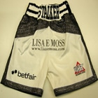 Thomas Stalker, white velvet boxing shorts and bomber style ring jacket, sponsored by betfair and lisa e moss, custom made boxing ring attire and trunks by suzi wong creations