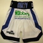 derry mathews vs anthony crolla boxing shorts and ring jacket custom made by suzi wong creations lonsdale liverpool blue and white satin velvet