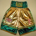 jimmy kelly wet look boxing shortss green and gold coldwell boxing promitions suzi wong creations made professional