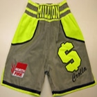 anthony crolla gallagher gym illuminous yellow and grey velvet custom made boxing shorts by suzi wong boxfit like the nike boxing boots and gloves