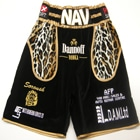 Nav Mansouri Yorkshire professional boxer custom made boxing shorts velvet and leopard print, suzi wong creations made lancashire, dave coldwell boxer