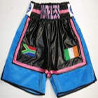 ryan doyle wet look and velvet blue and black customised boxing shorts with personal embroidery and printing