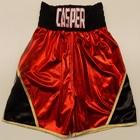 red custom made personalised boxing shorts trunks apparel tracksuits t-shirts shorts hoodys add your own name red gold black suzi wong creations ltd