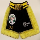 james chunky degale custom made personalised black and yellow fur boxing shorts and trunks hand made suzi wong creations team chunky hoody t-shirt black velvet suzi wong creations london olympic gold