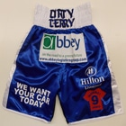 derry mathews satin blue black personalised shorts sponsored white satin custom made personalised designer boxing shorts ring jacket t-shirts tracksuit dirty suzi wong creations