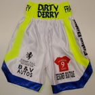derry mathews white satin custom made suzi wong boxing shorts cotto style personalised