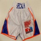 white satin custom boxing shorts union jack sparkle orange blue city boxer burf control designer suzi wong creations boxfit