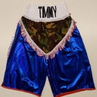 custom made suzi wong personalised boxing shorts embroidery wet look blue camoflauge add your name design your own