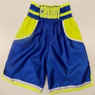 Blue illuminous yellow custom made boxing shorts suzi wong creations white embroidery chad