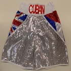 cuban boxing shorts custom made suzi wong creations blue sparkle silver british union jack