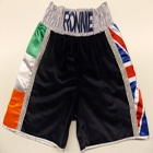 ronnie hefron boxing shorts velvet mexican navy blue union jack and irish flag custom made suzi wong creations brian rose