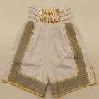 jamie williams mexican white velvet custom made suzi wong boxing shorts gold white designer british made hand made custom trunks satin