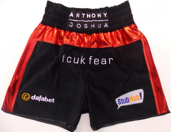 anthony joshua boxing shorts trunks kit black red velvet heavyweight boxing champions olympic gold medal winner ali suzi wong creations matchroom fcuk fear
