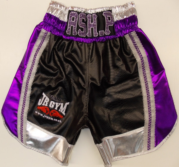 Black Snake Skin Boxing Shorts front