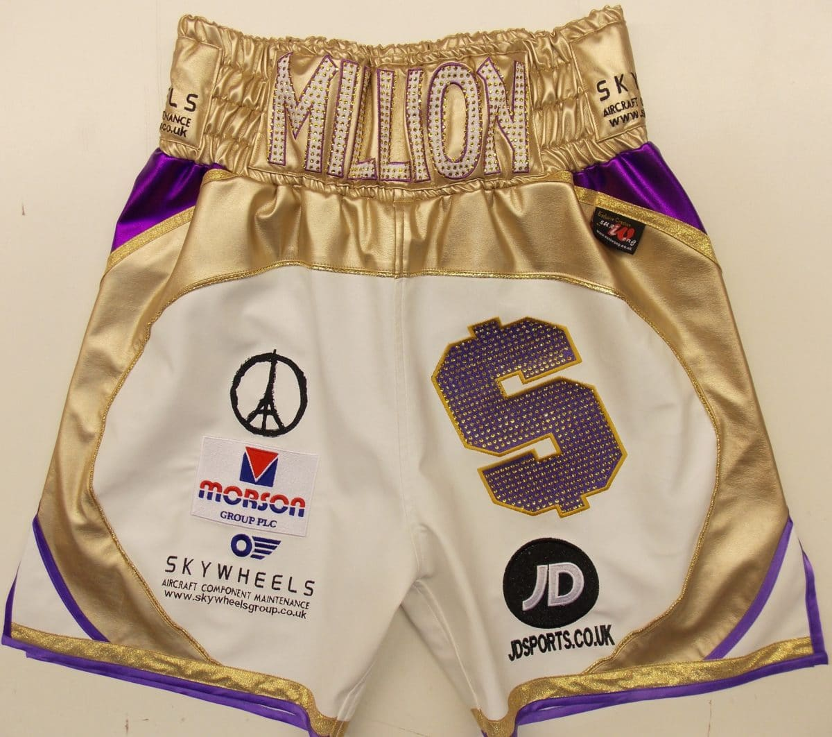 gold fight shorts front