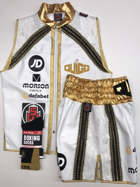 Quigg White Side Boxing Shorts and Ring Jacket