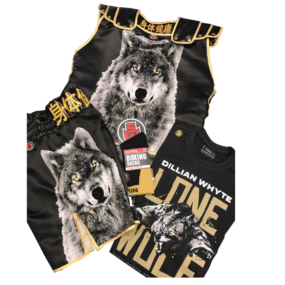 Dillian Whyte vs Lucas Browne boxing shorts and ring jacket