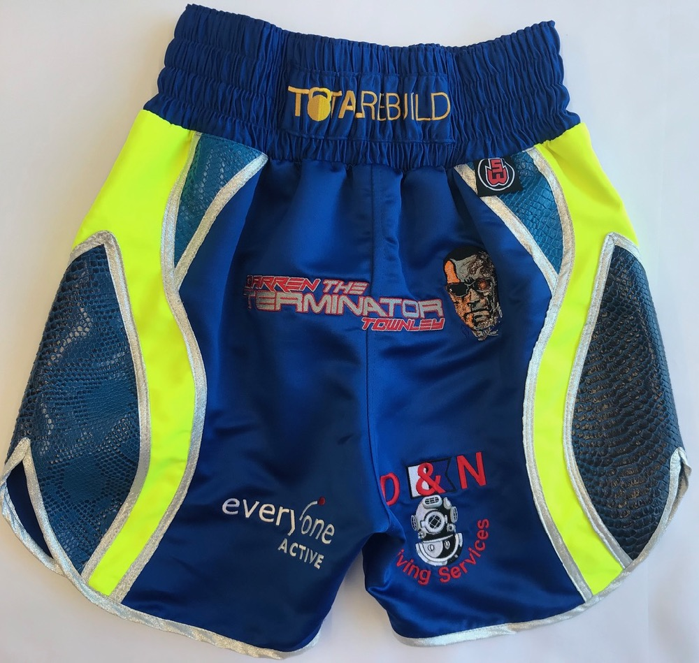 Darren Townley blue boxing shorts back